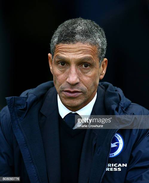 Brighton manager Chris Hughton during the Sky Bet Championship match between Brighton and Hove Albion and Wolverhampton Wanderers at The Amex Stadium...