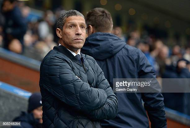 Brighton manager Chris Hughton during the Sky Bet Championship match between Blackburn Rovers and Brighton and Hove Albion at Ewood Park on January...