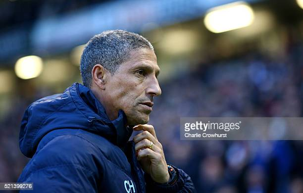 Brighton manager Chris Hughton during the Sky Bet Championship match between Brighton Hove Albion and Fulham at The Amex Stadium on April 15 2016 in...