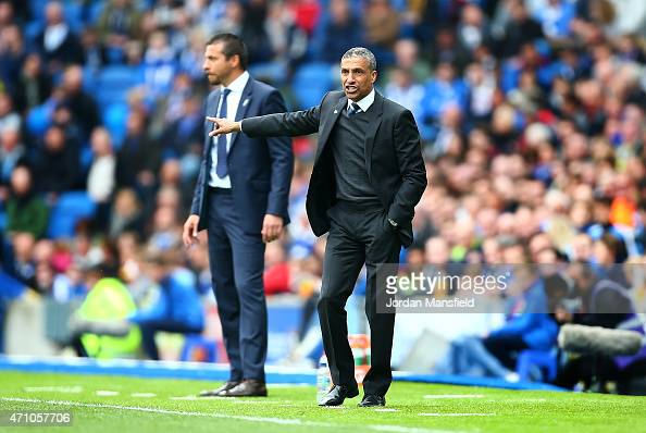 Brighton manager Chris Hughton gestures from the sidelines during the Sky Bet Championship match between Brighton Hove Albion and Watford at Amex...