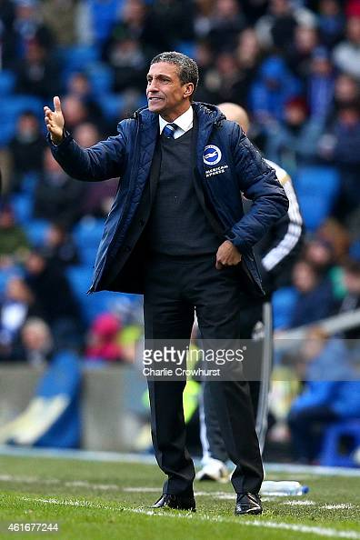 Brighton manager Chris Hughton gets animated on the touch line during the Sky Bet Championship match between Brighton Hove Albion and Brentford at...