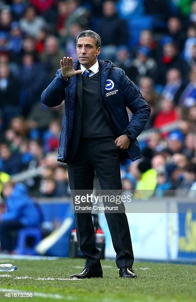 Brighton manager Chris Hughton gives his orders from the touch line during the Sky Bet Championship match between Brighton Hove Albion and Brentford...