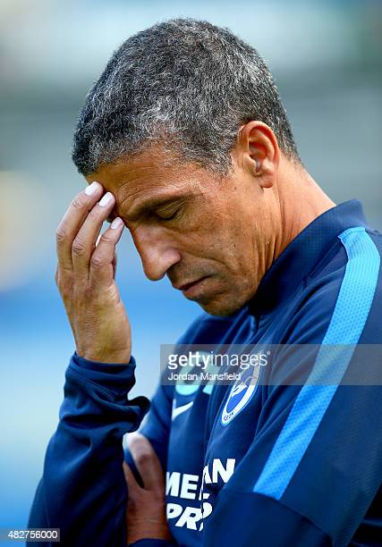 Brighton manager Chris Hughton looks dejected ahead of the Pre Season Friendly between Brighton Hove Albion and Seville at Amex Stadium on August 2...