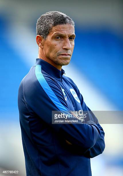 Brighton manager Chris Hughton looks on ahead of the Pre Season Friendly between Brighton Hove Albion and Seville at Amex Stadium on August 2 2015 in...