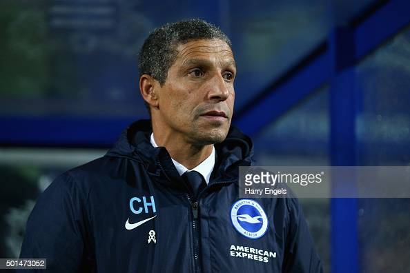 Brighton manager Chris Hughton looks on before kick off during the Sky Bet Championship match between Queens Park Rangers and Brighton and Hove...
