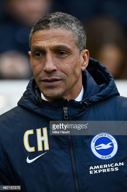 Brighton manager Chris Hughton looks on during the FA Cup Fourth Round match between Brighton Hove Albion and Arsenal at Amex Stadium on January 25...