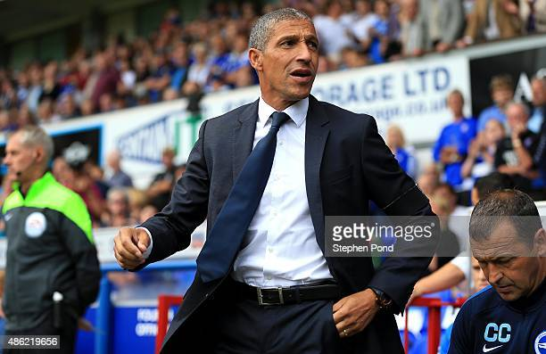 Brighton Manager Chris Hughton looks on during the Sky Bet Championship match between Ipswich Town and Brighton and Hove Albion at Portman Road...
