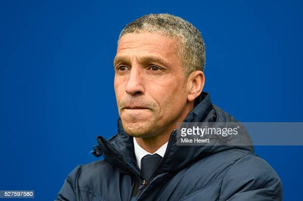 Brighton manager Chris Hughton looks on during the Sky Bet Championship match between Brighton and Hove Albion and Derby County at the Amex Stadium...