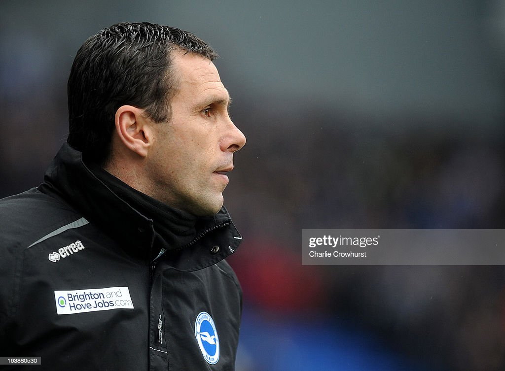 Brighton manager Gus Poyet during the npower Championship match between Brighton & Hove Albion and Crystal Palace at The Amex Stadium on March 17, 2013 in Brighton, England,