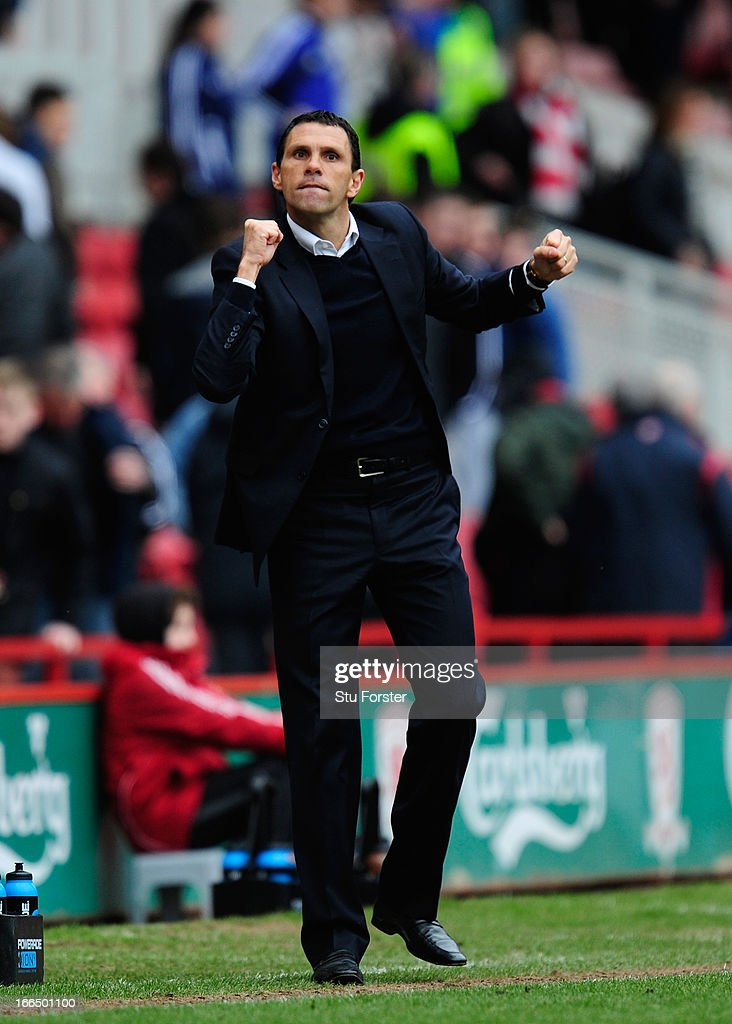 Brighton manager Gus Poyet reacts on the final whistle after the npower Championship match between Middlesbrough and Brighton & Hove Albion at Riverside Stadium on April 13, 2013 in Middlesbrough, England.