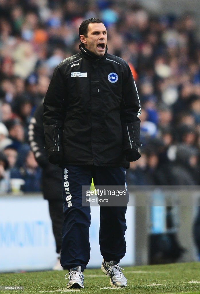Brighton manager Gus Poyet shouts instructions during the npower Championship match between Brighton & Hove Albion and Derby County at Amex Stadium on January 12, 2013 in Brighton, England.