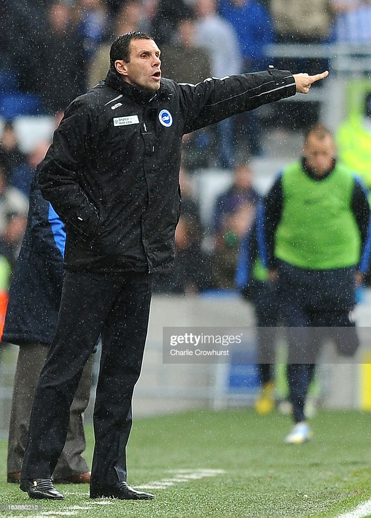 Brighton manager Gus Poyet shouts orders to the team during the npower Championship match between Brighton & Hove Albion and Crystal Palace at The Amex Stadium on March 17, 2013 in Brighton, England,