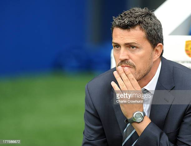 Brighton manager Oscar Garcia during the Sky Bet Championship match between Brighton Hove Albion and Burnley at The Amex Stadium on August 24 2013 in...