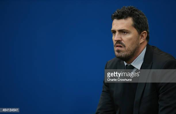 Brighton manager Oscar Garcia during the Sky Bet Championship match between Brighton and Hove Albion and Leicester City at The Amex Stadium on...