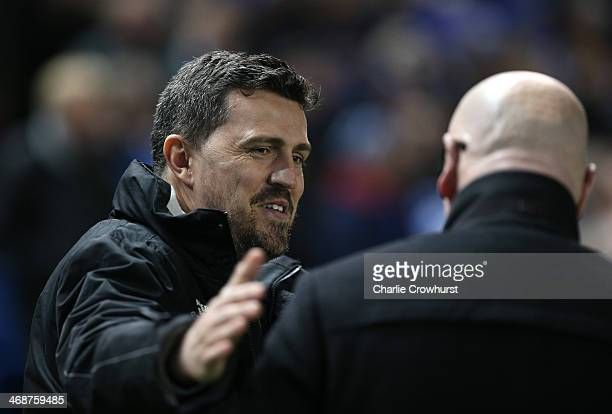 Brighton manager Oscar Garcia greets Leeds manager Brian McDermott during the Sky Bet Championship match between Brighton Hove Albion and Leeds...