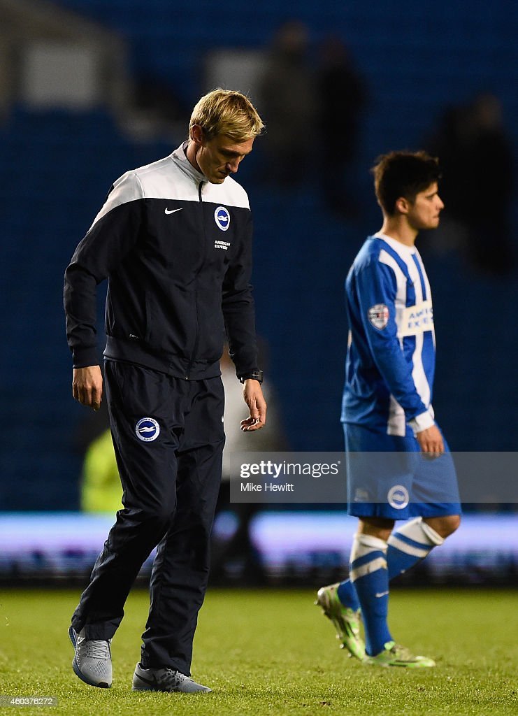 Brighton manager Sami Hyypia cuts a dejected figure after the Sky Bet Championship match between Brighton Hove Albion and Millwall at Amex Stadium on...