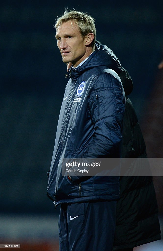 Brighton manager Sami Hyypia during the Sky Bet Championship match between Huddersfield Town and Brighton Hove Albion at Galpharm Stadium on October...