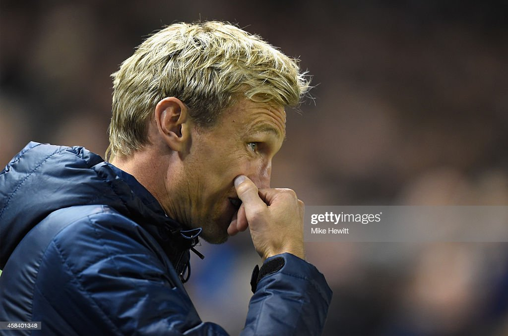Brighton manager Sami Hyypia looks on anxiously during the Sky Bet Championship match between Brighton Hove Albion and Wigan Athletic at Amex Stadium...