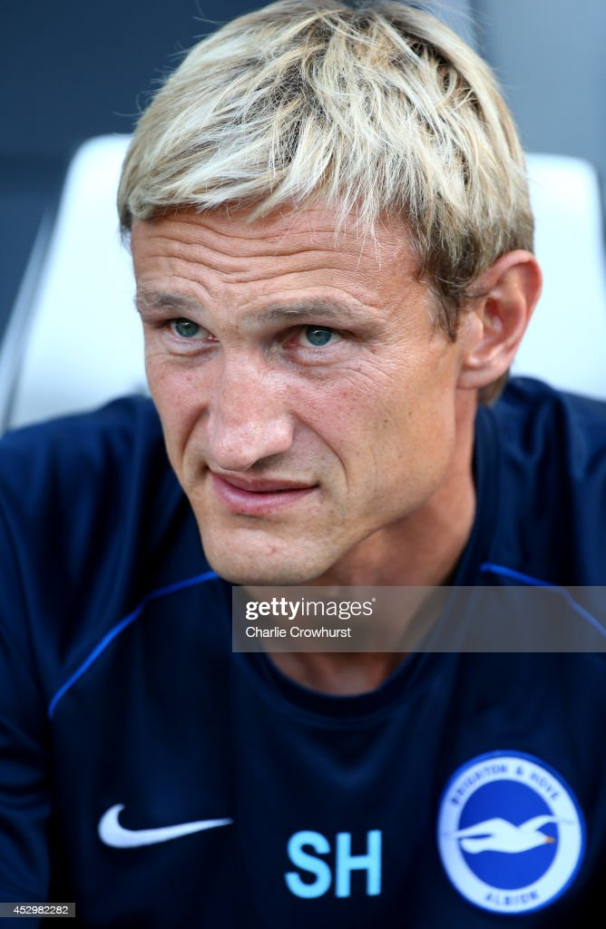 Brighton manager Sami Hyypia looks on during the pre season friendly match between Brighton Hove Albion and Southampton at The Amex Stadium on July...