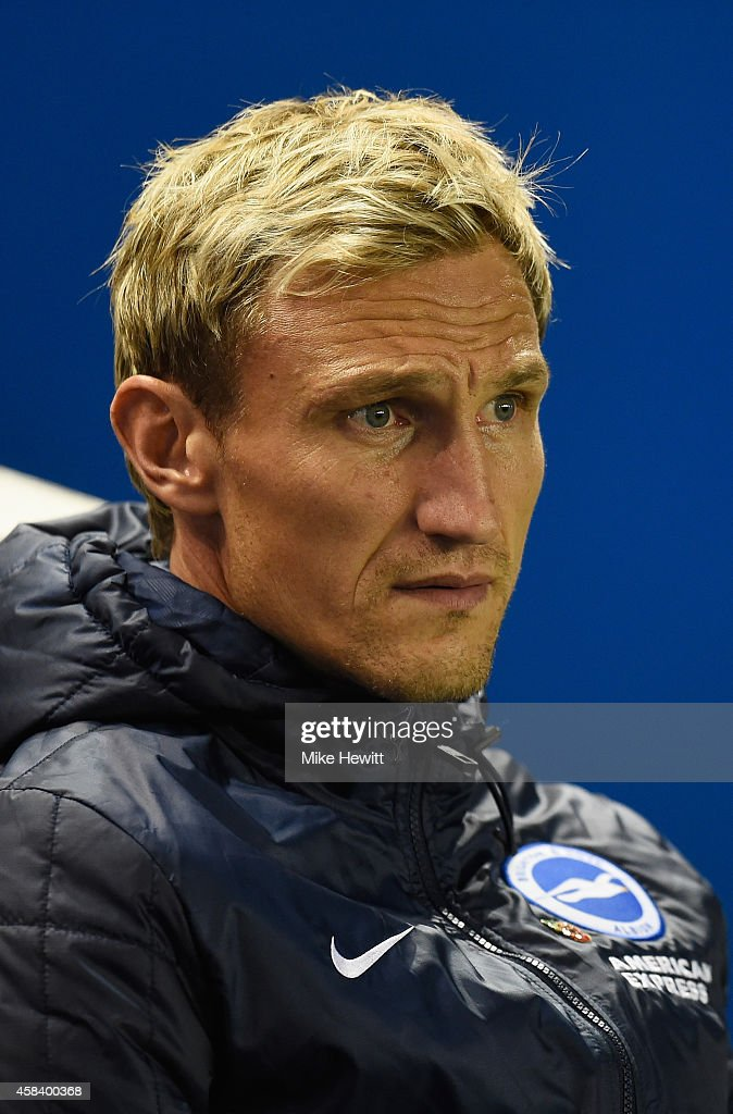 Brighton manager Sami Hyypia looks on during the Sky Bet Championship match between Brighton Hove Albion and Wigan Athletic at Amex Stadium on...
