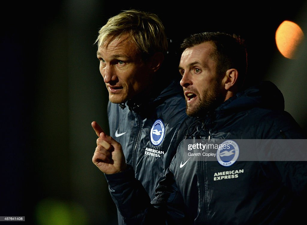 Brighton manager Sami Hyypia with assistant manager Nathan Jones during the Sky Bet Championship match between Huddersfield Town and Brighton Hove...