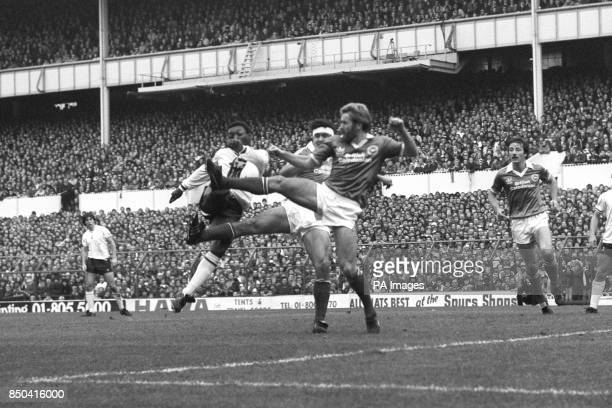 Brighton players Tony Grealish and Steve Foster compete against Tottenham Hotspur's Garth Crooks during the Division One match at White Hart Lane...