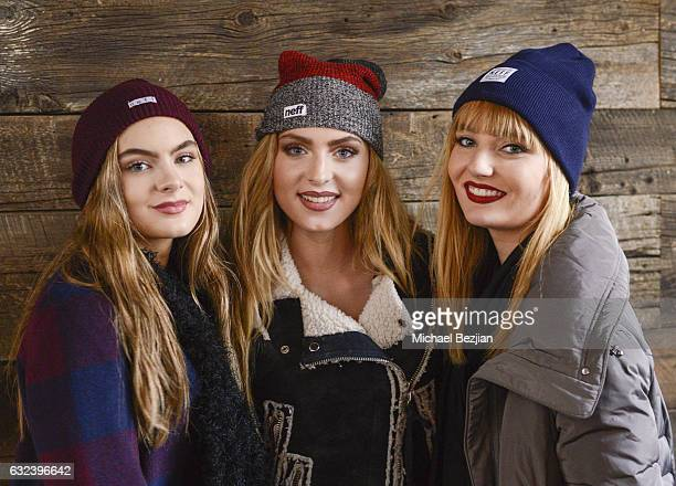 Brighton Sharbino Saxon Sharbino and Christina Robinson wearing Neff beanies pose at The Indie Lounge Hosts the Artists Project 'Give Back Portraits'...