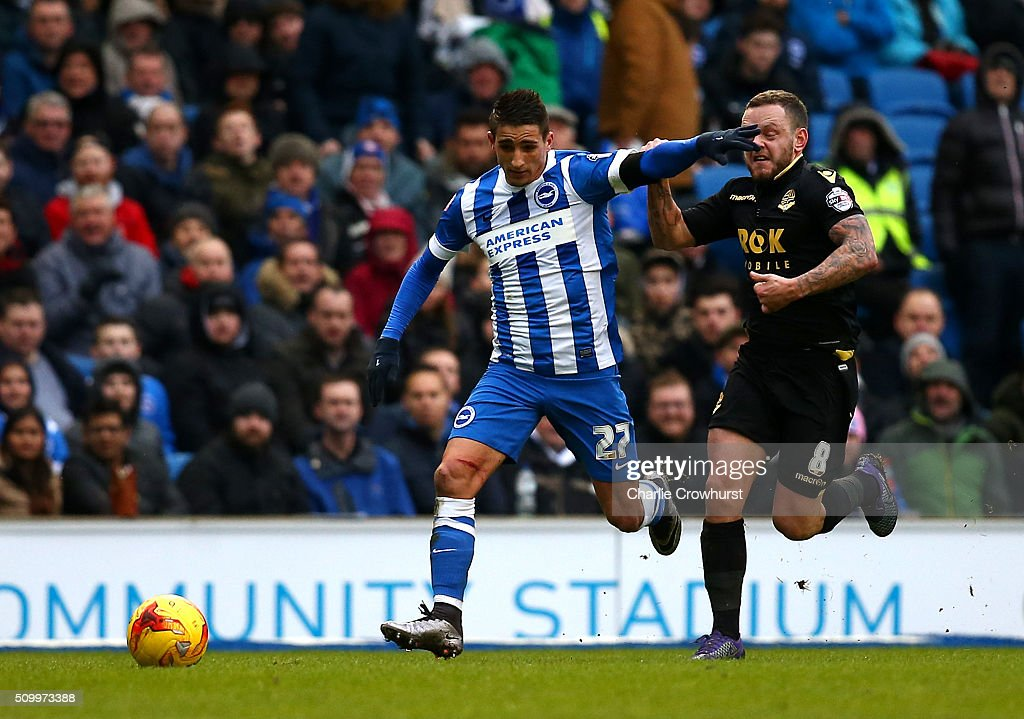 Brighton's Anthony Knockhaert looks to attack as he holds off Bolton's <a gi-track='captionPersonalityLinkClicked' href=/galleries/search?phrase=Jay+Spearing&family=editorial&specificpeople=4246743 ng-click='$event.stopPropagation()'>Jay Spearing</a> during the Sky Bet Championship match between Brighton and Hove Albion and Bolton Wanderers at The Amex Stadium on February 13, 2016 in Brighton, England.