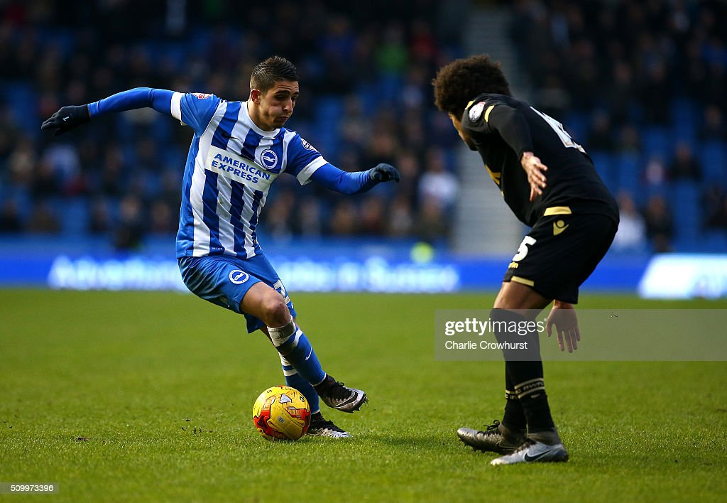 Brighton's Anthony Knockhaert looks to attack during the Sky Bet Championship match between Brighton and Hove Albion and Bolton Wanderers at The Amex Stadium on February 13, 2016 in Brighton, England.