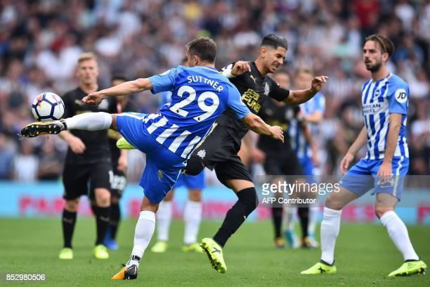 Brighton's Austrian defender Markus Suttner vies with Newcastle United's Spanish striker Ayoze Perez during the English Premier League football match...