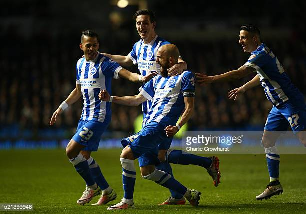 Brighton's Bruno Saltor celebrates after he scores the team's third goal of the game with team mates Lewis Dunk Anthony Knockhaert and Liam Rosenior...