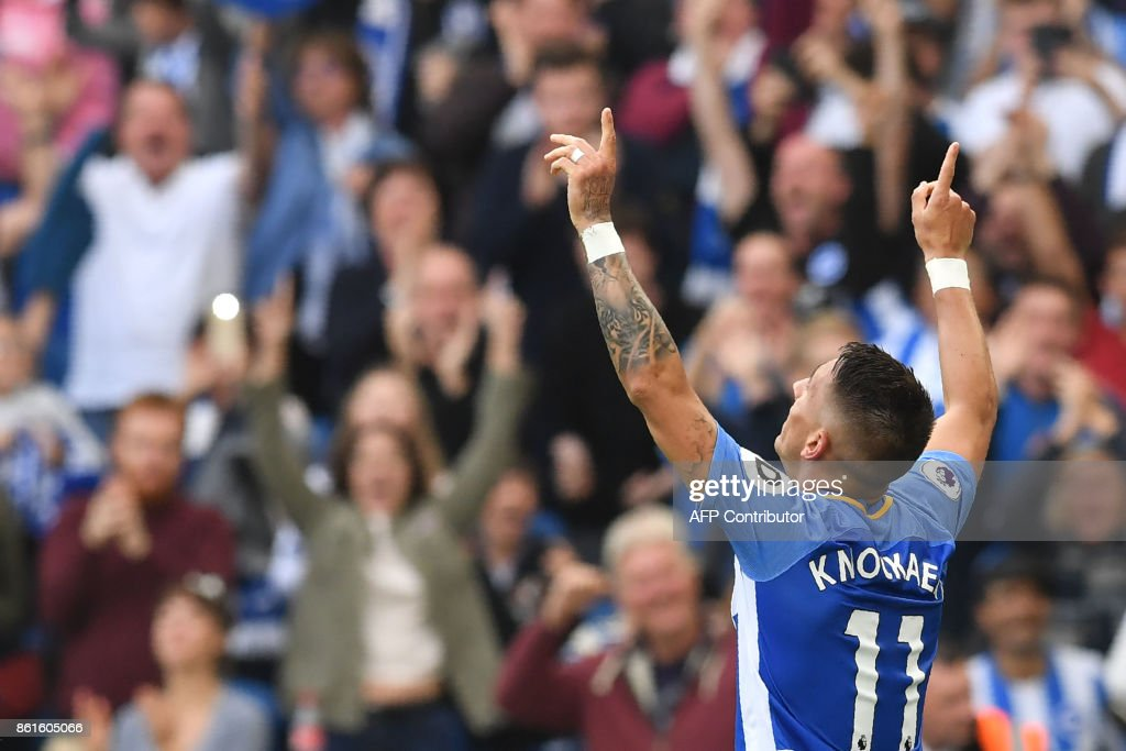 Brighton's French midfielder Anthony Knockaert celebrates scoring his team's first goal during the English Premier League football match between Brighton and Hove Albion and Everton at the American Express Community Stadium in Brighton, southern England on October 15, 2017. / AFP PHOTO / Ben STANSALL / RESTRICTED TO EDITORIAL USE. No use with unauthorized audio, video, data, fixture lists, club/league logos or 'live' services. Online in-match use limited to 75 images, no video emulation. No use in betting, games or single club/league/player publications. /