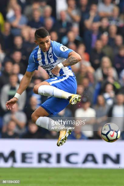 Brighton's French midfielder Anthony Knockaert controls the ball during the English Premier League football match between Brighton and Hove Albion...