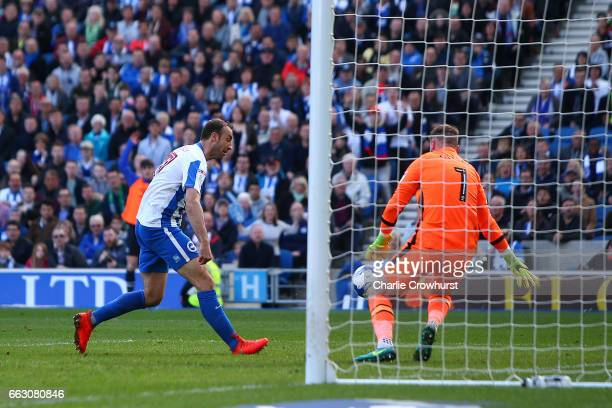 Brighton's Glenn Murray scores the first goal of the game during the Sky Bet Championship match between Brighton Hove Albion and Blackburn Rovers at...