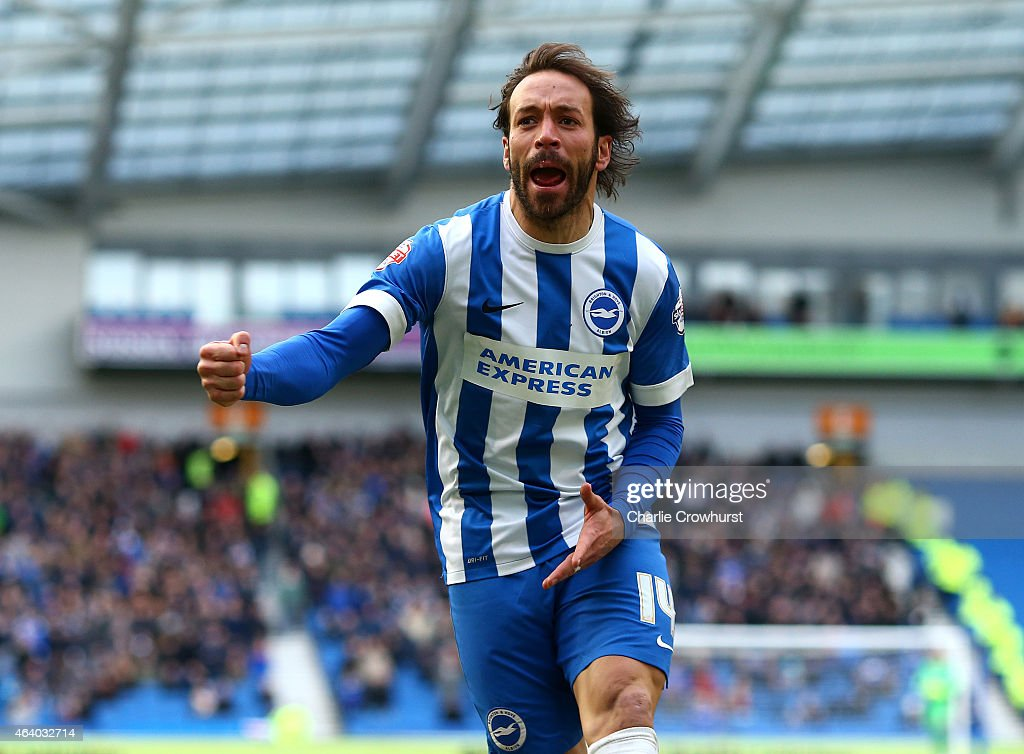 Brighton's Inigo Calderon celebrates after he scores the teams second goal of the game during the Sky Bet Championship match between Brighton Hove...