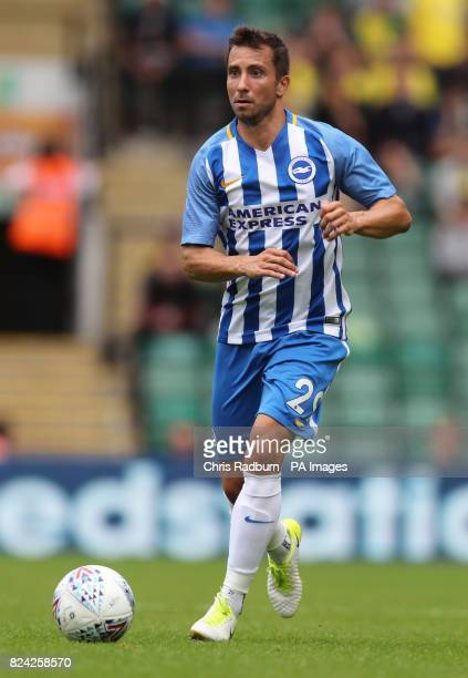 Brighton's Markus Suttner during the preseason match at Carrow Road Norwich