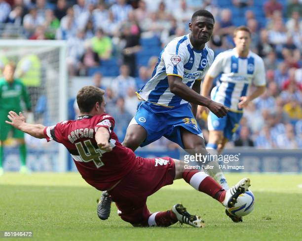 Brighton's Rohan Ince is challenged by Derby's Craig Bryson during the Sky Bet Championship match at the AMEX Stadium Brighton