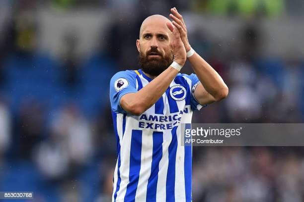Brighton's Spanish defender Bruno Saltor applauds supporters after the English Premier League football match between Brighton and Hove Albion and...
