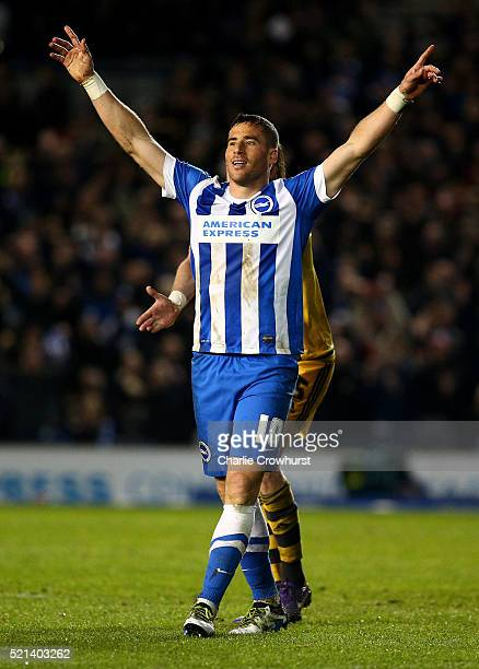 Brighton's Tomer Hemed celebrates his hatrick and scoring the team's fourth goal of the game during the Sky Bet Championship match between Brighton...