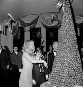 Brigitte Bardot and Jonathan Eden who appears with Bardot in ' Viva Marfa' cut a friend's Christmas cake at a Bardot party at the Beverly Hills Hotel