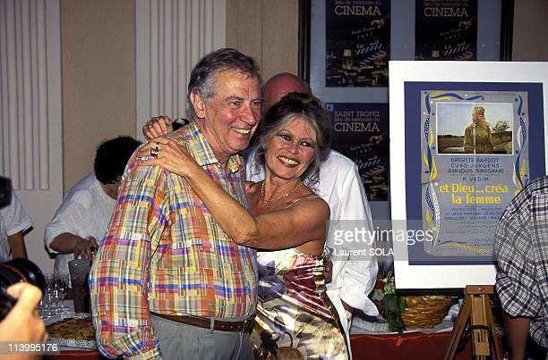 Brigitte Bardot and Roger Vadim at Cinema's 100th Birthday Party In Saint Tropez France In July 1995