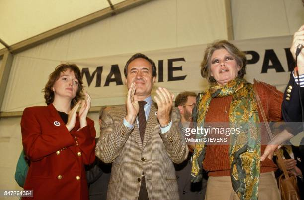 Brigitte Bardot at Animal Festival with deputy Jean Tiberi and Claude Chirac on October 1 1989 in Vincennes France