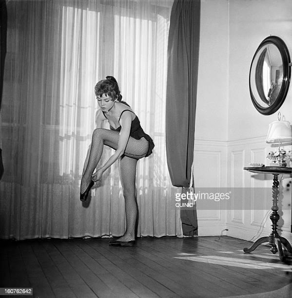 Brigitte Bardot dancing at home 1954 in Paris France