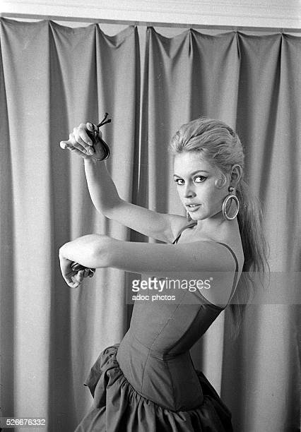 Brigitte Bardot during the shooting of the film 'La Femme et le Pantin' directed by Julien Duvivier in 1959