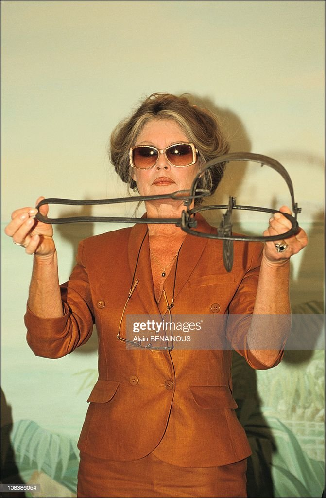 Brigitte BARDOT fights against animal trapping in France on September 14, 1991.