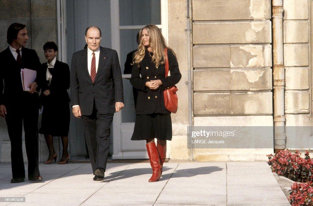 Brigitte Bardot Received At The Elysee. Paris - 17 octobre 1984 --- Brigitte BARDOT reçue à l' Elysée par le président François MITTERRAND. .