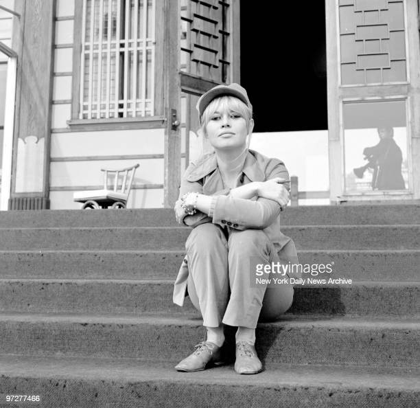 Brigitte Bardot waiting for her car at the Beverly Hills Hotel