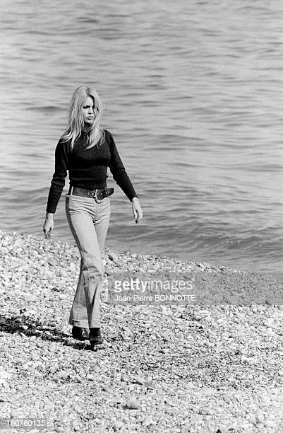 Brigitte Bardot walking on the beach on March 30 1968 in Almeria Spain
