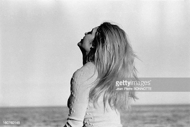 Brigitte Bardot walking on the beach on March 30 1968 in Almeria Spain
