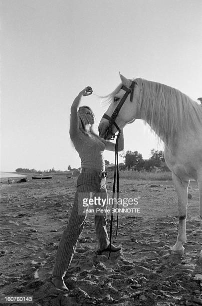 Brigitte Bardot with a horse on the Beach on March 30 1968 in Almeria Spain